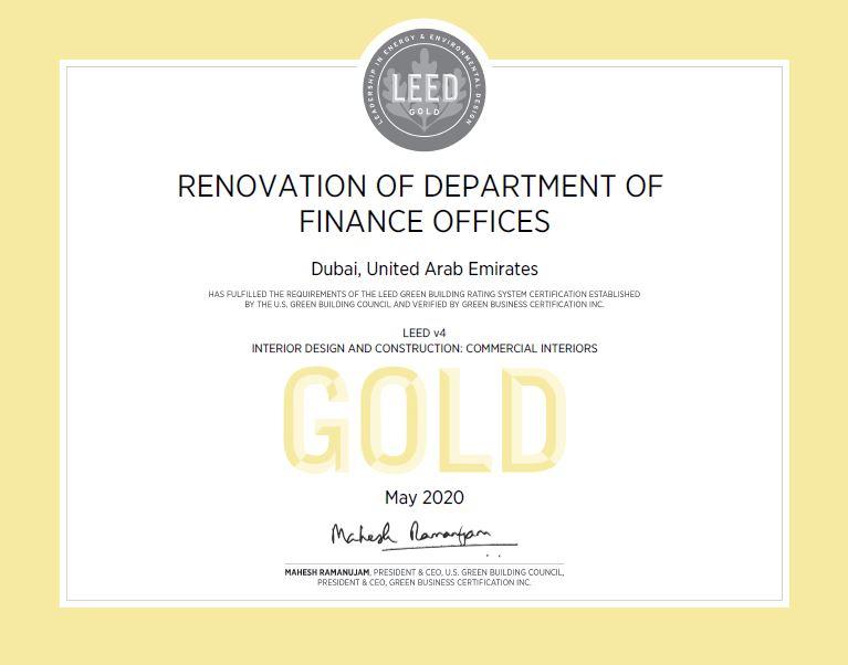Department of Finance LEED Gold Certificate