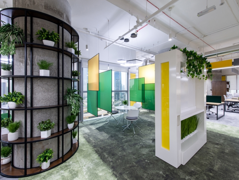 MTN Office Fit Out - Yellow, Green, White and Grey Interior with Plants